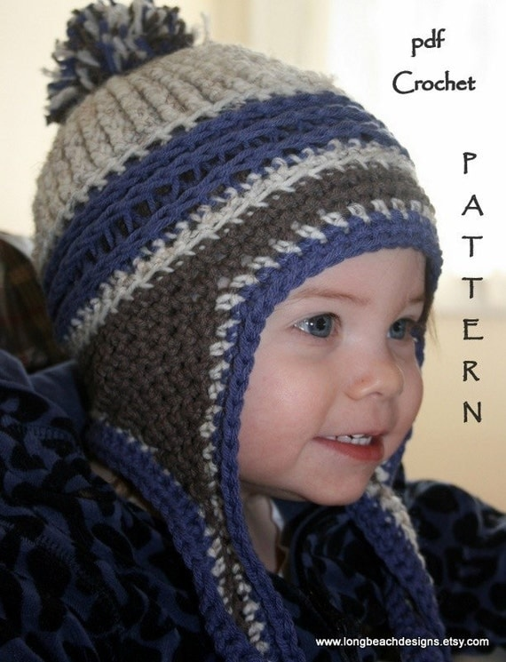 Easy Crochet Hat Pattern With Ear Flaps : Crochet Beanie Pattern Ear Flap Crochet Pattern Kids