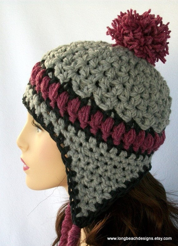 Crochet Ear Flap Hat Pattern Aspen Highlands by longbeachdesigns