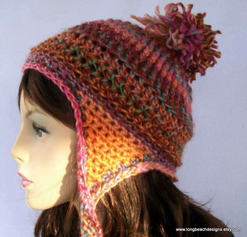 Easy Crochet Hat Pattern With Ear Flaps : Crochet Ear Flap Hat Pattern Ribbon Candy Earflap Beanie