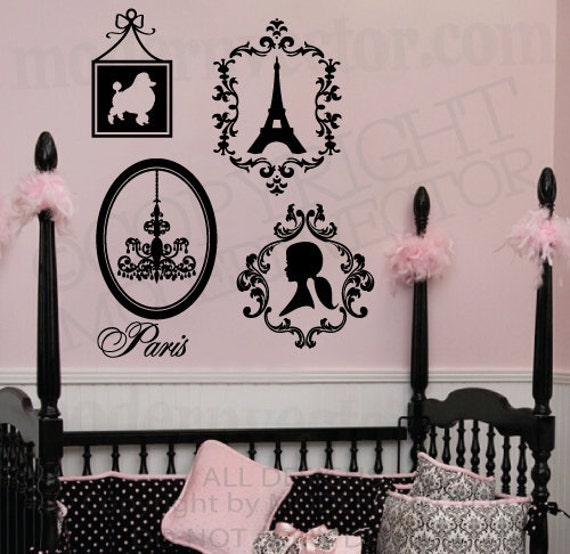 Paris Theme Vinyl Wall Decals Eiffel Tower Poodle By