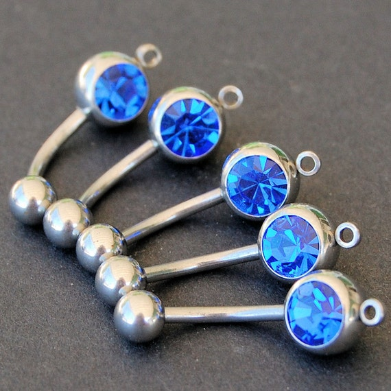 Surgical Stainless Steel with Blue Stone add a Charm / add a Dangle Belly Button Rings / Barbells - set of 5