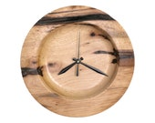 Turned Wood Wall Clock,  Natural Edge Pecan Clock, Rustic Clock