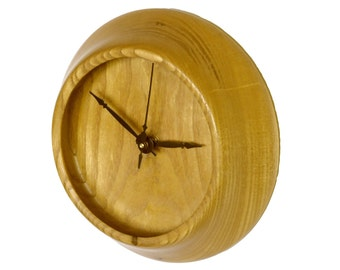 Wall Clock, Turned Wood Clock, Mulberry Wood Clock