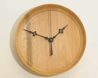 Wood Wall Clock, Turned Wood Clock, Lacewood (Sycamore) Clock