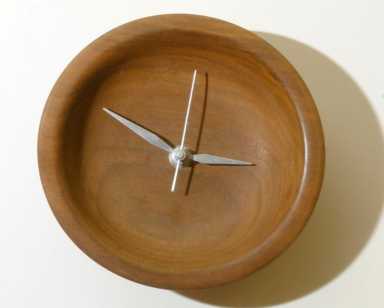 Wood Wall Clock Small Black Walnut Clock By Woodartforliving