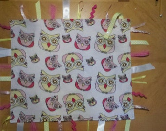 ON SALE! Double Sided Owl Flannel Sensory Tag Blanket