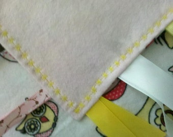 ON SALE! Double Sided Owl Flannel Sensory Tag Blanket (Star Stitch)