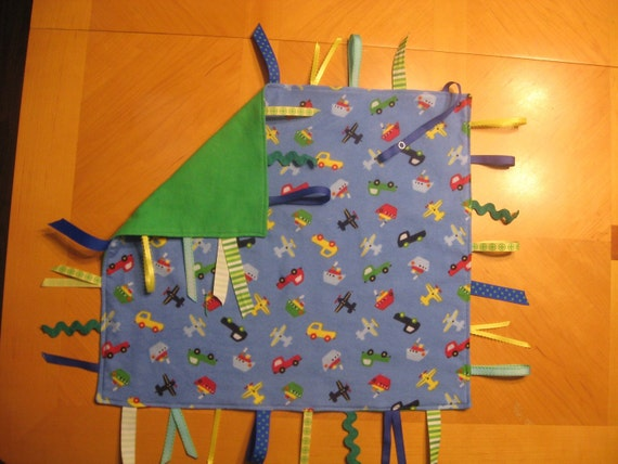 Double Sided Planes, Boats, and Cars Flannel Sensory Tag Blanket