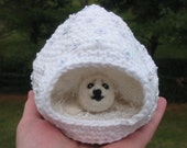Needle felted miniature baby seal with crocheted play igloo