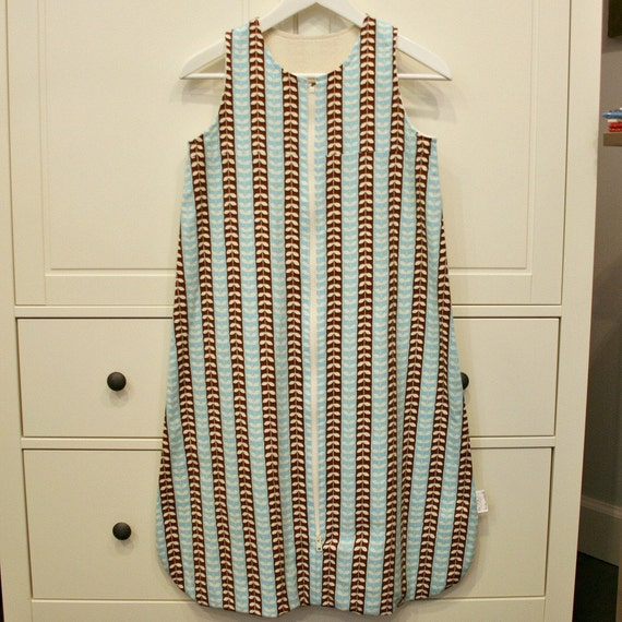 18-24 month sleep sack in blue and brown mingle stripe
