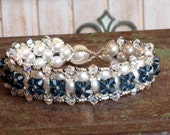 Bracelet Denim Blue Swarovski Crystal with White or Ivory Pearl for Blue Weddings, Bridesmaid Gifts, or to Dress up Jeans