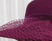 Wine Burgundy Veil Netting - Russian or French Net Birdcage Material, Half or Full 1 Yard