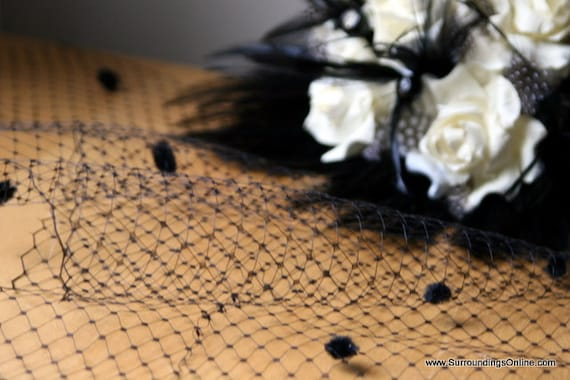 Unique Black Dotted Veil Netting - Russian or French Net Birdcage Material, Half Yard or Full 1 Yard