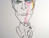 Bowie Black and White Rock Portrait Rock and Roll Caricature Music Art by Leslie Mehl