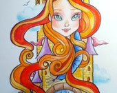 Rapunzel Big Eye Fantasy Fairytale Art Print 8.5 x 11