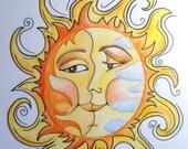 Sun Moon Faces Art Print 8.5 x 11