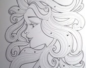 Black and White Girl With Hearts Hair 60s Groovy Swirls Art Print