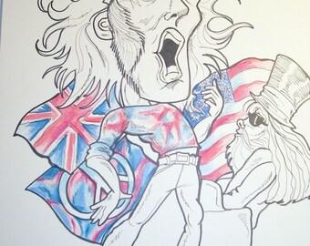Joe Cocker Rock Caricature Rock Portrait Music Art by Leslie Mehl Art