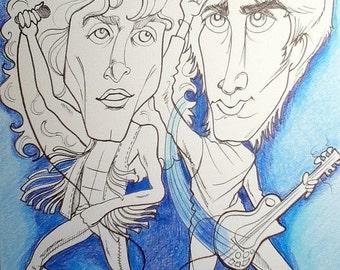 Young Roger Young Pete Rock Caricature Rock Portrait Music Art by Leslie Mehl Art