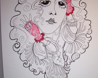 Red Glove Stevie Nicks Rock Portrait Rock and Roll Caricature Music Art by Leslie Mehl