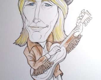 Tom Petty Rock Portrait Rock and Roll Caricature Music Art by Leslie Mehl