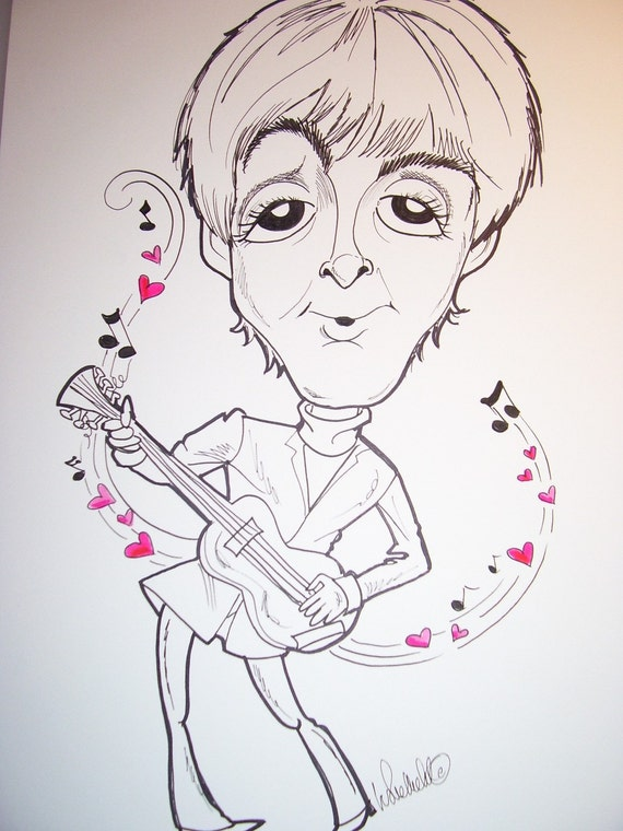 Paul Mc Cartney Rock Portrait Rock and Roll Caricature Music Art by Leslie Mehl