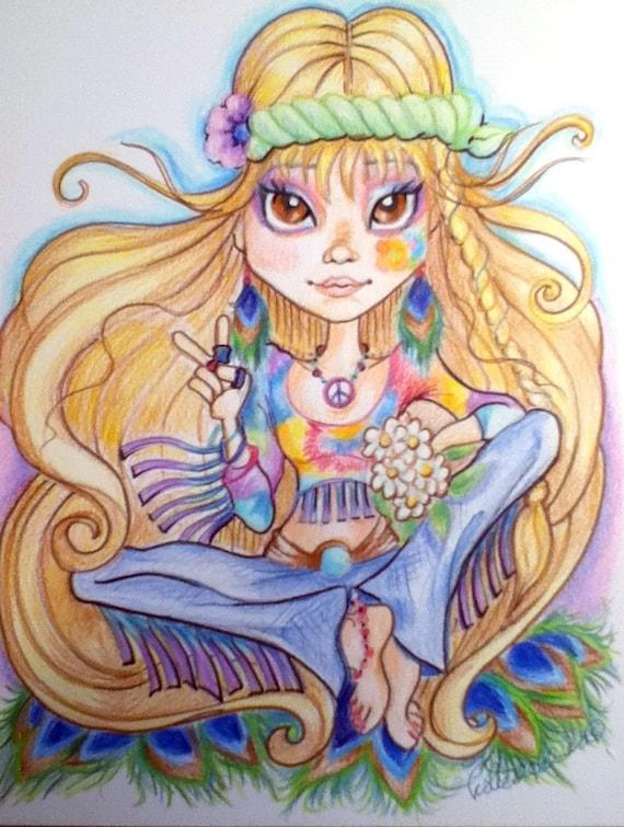 Hippie Chick Big Eye Fantasy Art Print 8.5 x 11 by ...