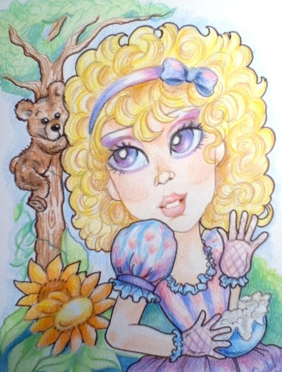 Golidilocks and The Three Bears Big Eye Fantasy Fairytale Art Print 8.5 x 11
