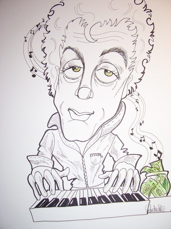 Billy Joel Rock Caricature Rock Portrait Music Art by Leslie Mehl Art