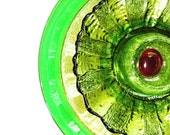 Garden Art Upcycled Green Glass Flower
