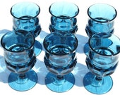 Vintage Imperial Blue Indiana Glass Goblet Set Thumbprint Tiara Kings Crown Holiday Table Fine Dining Decor Winter Glacier Ice Blue Glasses