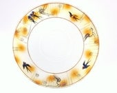 Vintage Swallows Hand Painted China Saucer Japan