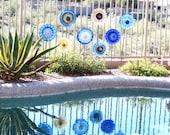 SALE Garden Art Glass Plate Flower Decor Upcycled Glassware CHELSEA