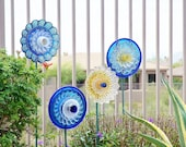 SALE Garden Art Upcycled Recycled Glass Plate Flower Emily