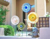 RESERVED Garden Art Glass Flower Suncatcher UpCycled RePurposed EMMA