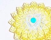 Golden Garden Art Yard Decor Suncatcher UpCycled RePurposed Glass ARELA