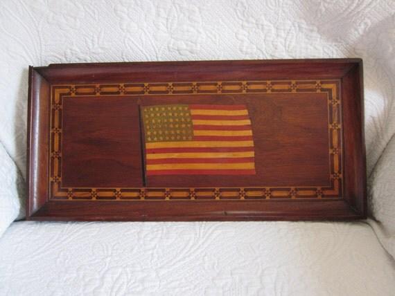 Wood Inlay Wall Decor : Star american flag folk art wood inlay plaque wall hanging