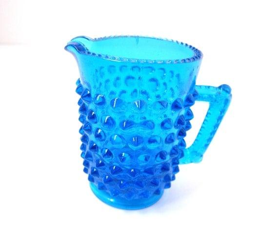 Vintage Hobnail Miniature Creamer Toothpick Holder Aqua Blue Glass