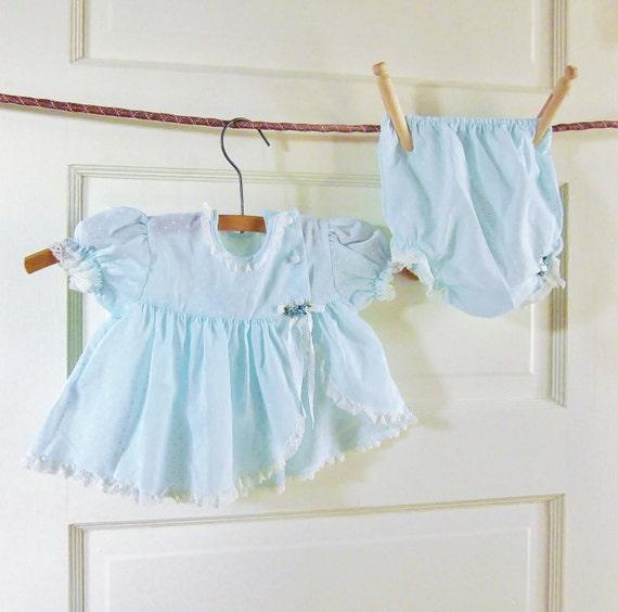 Vintage Powder Blue Baby Dress 32 Year Old Doll Dress