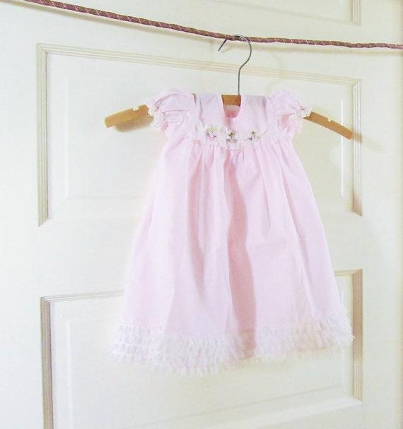Baby Dress Vintage Pastel Pink 32 Year Old Girls Doll Dress Newborn