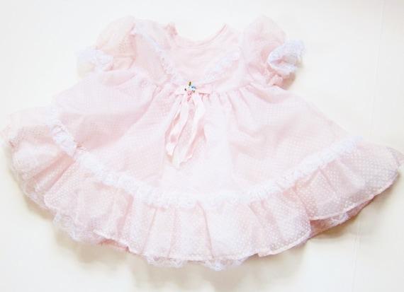 Girly Pale Pink Vintage Baby Dress 32 Year Old Doll Dress Frilly Chiffon Swiss Dot