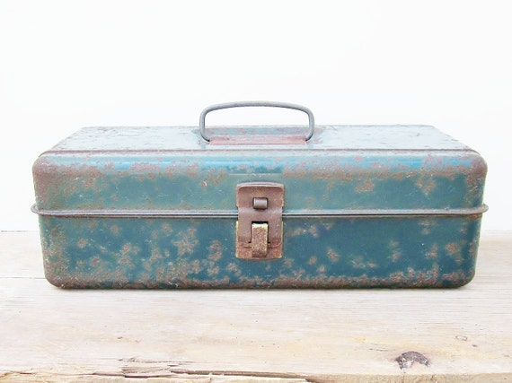 Rusty Metal Tackle Box Teal Blue Green Rustic Fishing Gear Man Cave