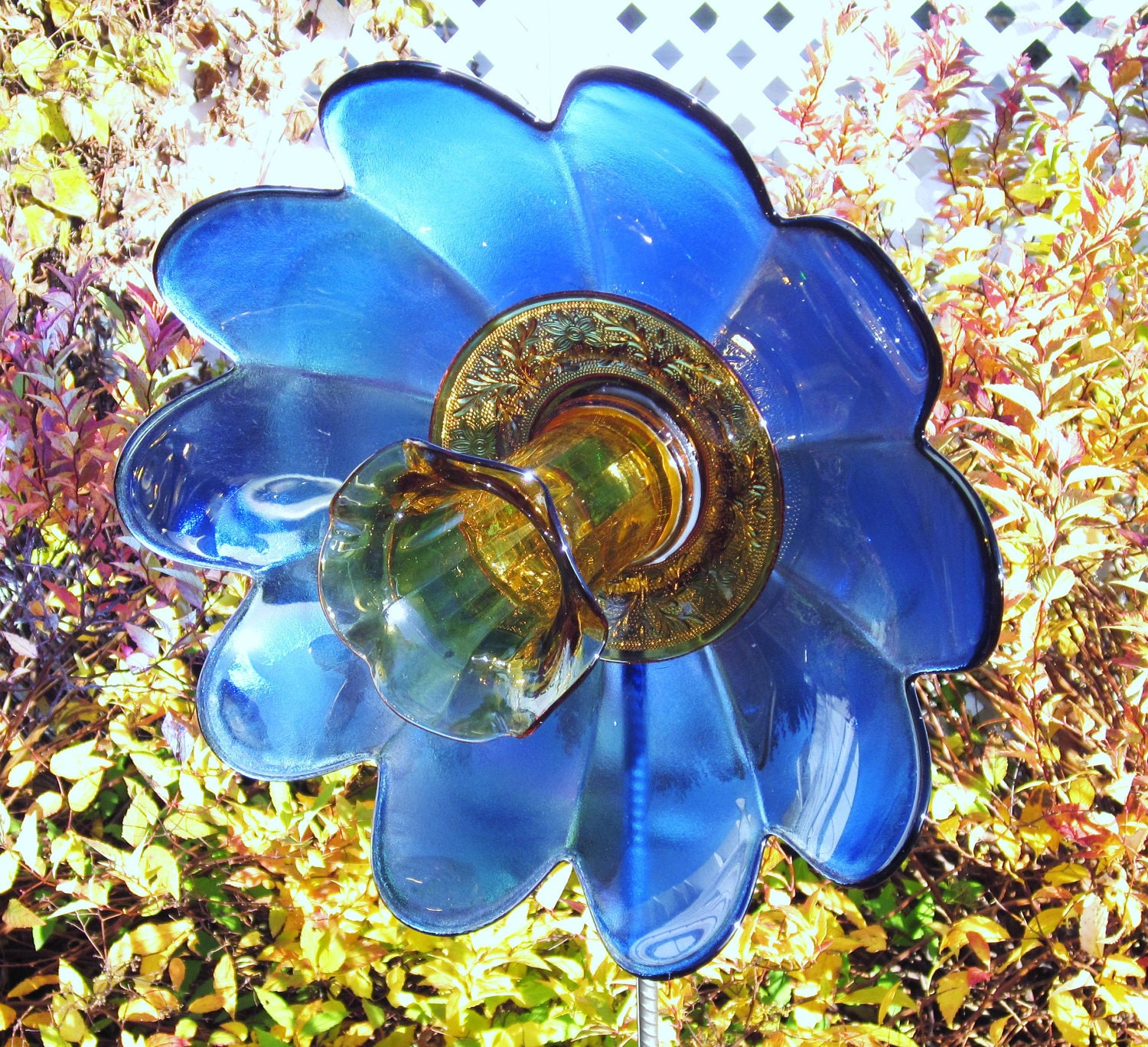 Garden Art Flower Outdoor Decor Recycled Repurposed Glass