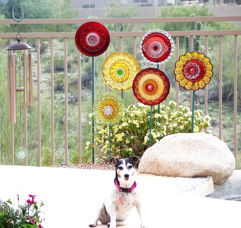 Glass Plate Flower Outdoor Decor Garden Art HEART Gift For The