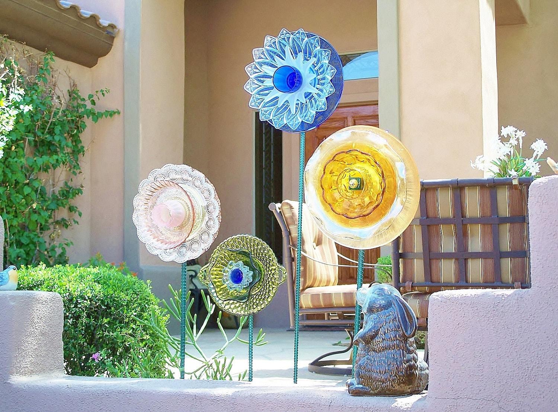 Reserved Garden Art Glass Flower Suncatcher Upcycled