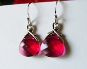 Swarovski Ruby Red Crystal Briolettes Sterling Silver Earrings