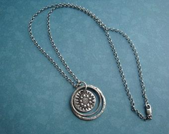 Silver  PMC Sunflower Pendant Handmade