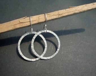 Textured Handmade Silver Hoop Earrings