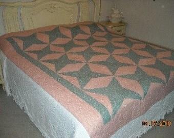 Large Pinwheel Pink and Green  Quilt