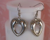 Open Heart Earrings - Antique Silver or Antique Gold
